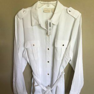 New Chico's White Utility Cold Shoulder Jacket